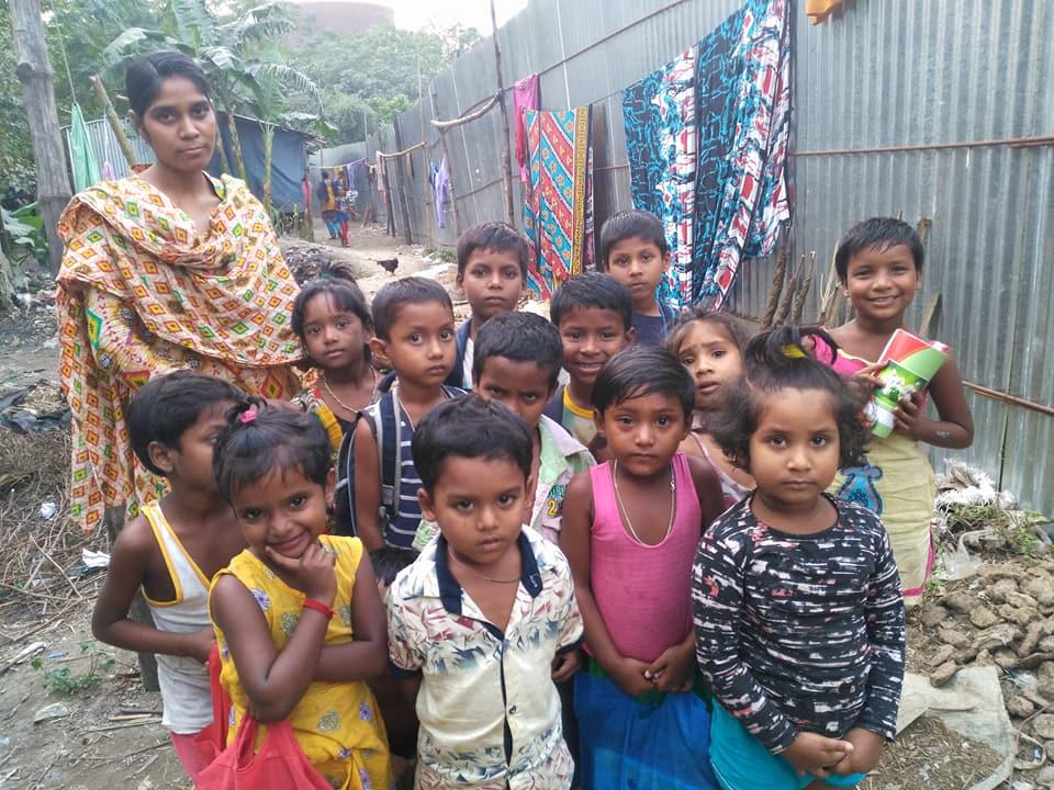 Pangawn Bikash Pre -primary School students and Teacher.
